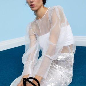 Zara off white organza blouse